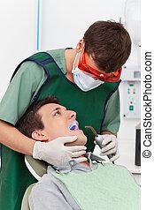 zahnarzt, patient, besuchen