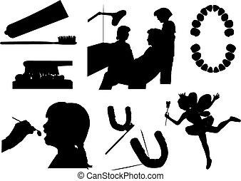 zahnarzt, vektor, silhouetten
