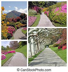 zahrada, cesta, koláž, -, podobenství, od, elagant, park, do, dějinný, vil