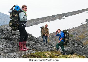 zaini, montagne, squadra, backpackers, stanco