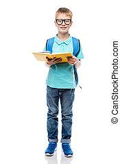 zaino, contro, libro, studio, fondo, proposta, sorridente, bianco, scolaro