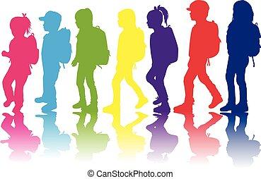 zaino, silhouette, bambino