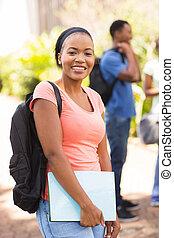 zaino, studente università, africano femmina