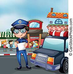 zajęta ulica, policjant