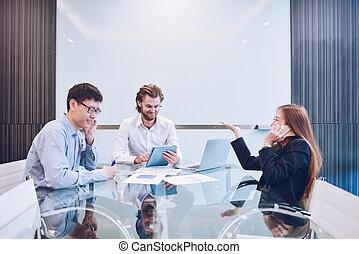 zajęty, handlowy zaludniają, pokój, teamwork, działalność, spotkanie, multitask