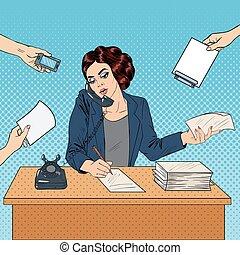zajęty, kobieta, sztuka, biuro, handlowy, work., ilustracja, wektor, hukiem, multitasking