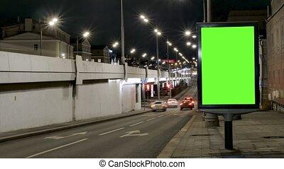 zajęty, lapse., wozy, evening., przenosić, ekran, umieszczony, zielony, ulica., czas, tablica ogłoszeń