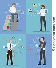 zajęty, ludzie, ilustracja, cztery, wektor, chorągwie