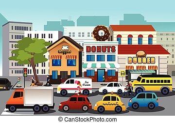 zajęty, miasto, w, przedimek określony przed rzeczownikami,...