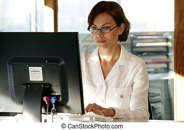 zajęty, pracownik, samica, biuro