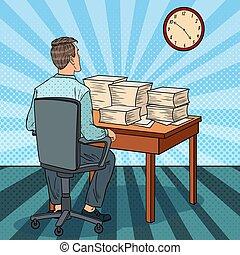 zajęty, sztuka, biuro, kupy, work., pracownik, ilustracja, nadgodziny, wektor, hukiem, papers.