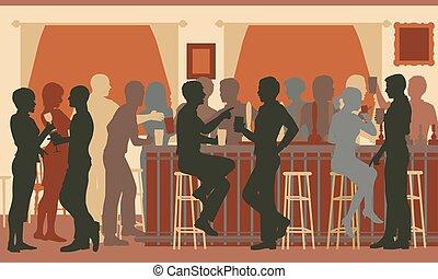 zajęty, wieczorny, bar