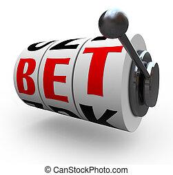 zakład, słówko, na, automat, koła, -, hazard