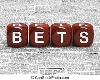 zakłady, jarzyna pokrajana w kostkę, podły, hazard, ryzyko, i, zakłady