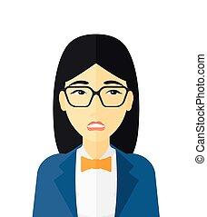 zakłopotany, kobieta, glasses.