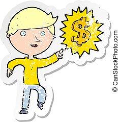 zakłopotany, pieniądze, rzeźnik, idea, retro, rysunek, człowiek