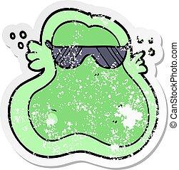 zakłopotany, rzeźnik, od, niejaki, chłodny, rysunek, ameba