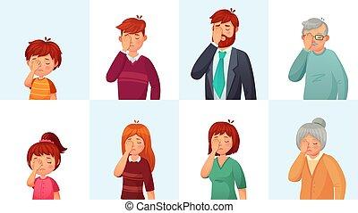 zakłopotany, ukrywać się, zaludniać twarze, facepalm, gesture., ilustracja, twarz, gesty, wstyd, za, wektor, dłoń, rozczarowany, rysunek