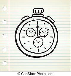 zak, doodle, horloge