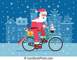 zak, fiets, kerstman, cadeau, kerstmis