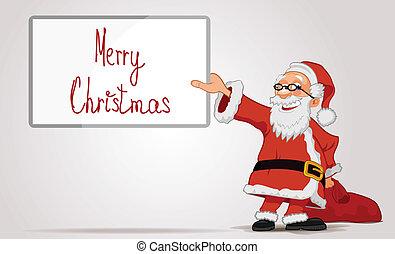 zak, frame, vasthouden, kerstman, handen