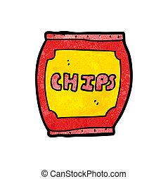 zak, frites, spotprent, aardappel
