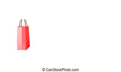 zak, geanimeerd, shoppen
