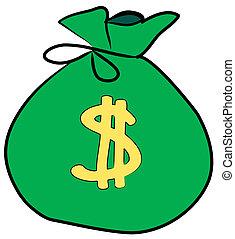 zak geld, met, het teken van de dollar, op, voorkant