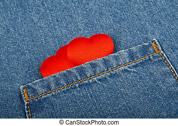 zak, hartjes, jeans, rood