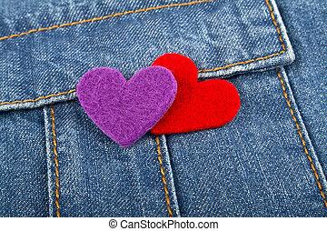 zak, hartjes, jeans, rood, viooltje