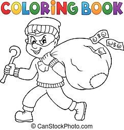 zak, kleuren, dief, boek, geld