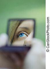 zak, oog, weerspiegelde, vrouwlijk, spiegel