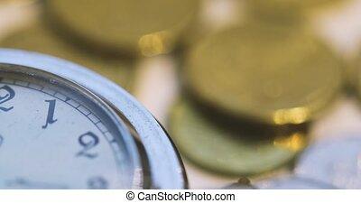 zak, oud, horloge, opening