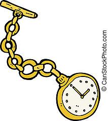 zak, oud, horloge, spotprent