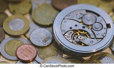 zak, oud, horloges, werkende , mechanisme