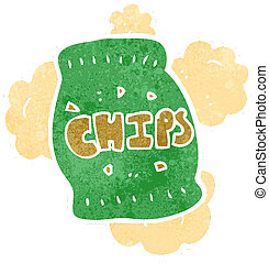 zak, spotprent, frites, retro, aardappel