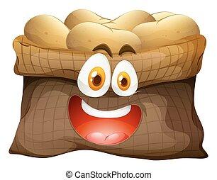zak van, aardappels, met, gezicht