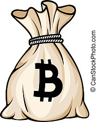 zak, vector, bitcoin, illustratie, meldingsbord