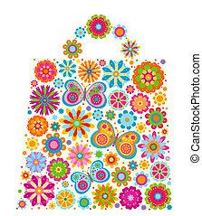zak, vorm, bloemen