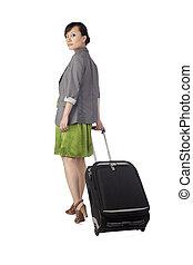 zak, vrouw, aziaat, het reizen
