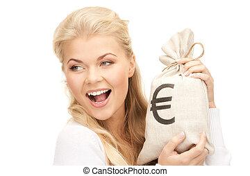 zak, vrouw, ondertekeend, eurobiljet