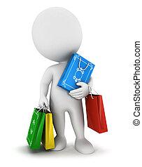 zak, witte , 3d, winkelende mensen