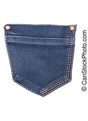 zak, witte , jeans, vrijstaand, achtergrond