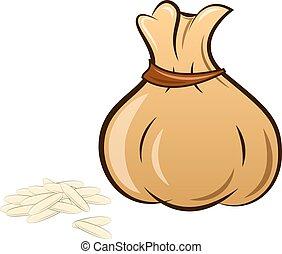 zak, witte rijst, gevulde, achtergrond
