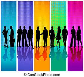 zakelijk, achtergrond kleurde, mensen