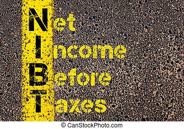 zakelijk, acroniem, belastingen, nibt, inkomen, net, voor