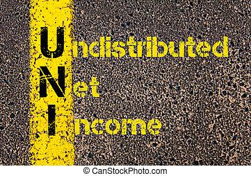 zakelijk, acroniem, undistributed, inkomen, uni, boekhouding, net