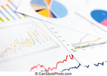 zakelijk, analytics, -, diagrammen, grafieken, data