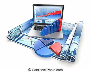 zakelijk, analyze., draagbare computer, grafiek, en, diagram.