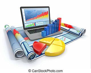 zakelijk, analyze., draagbare computer, grafiek, en,...